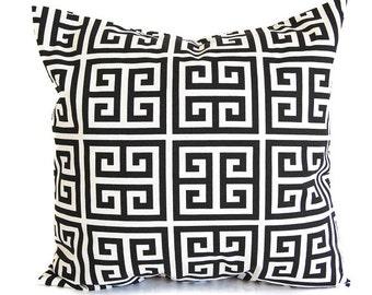 Black throw pillow cushion cover black and white greek key black modern decor