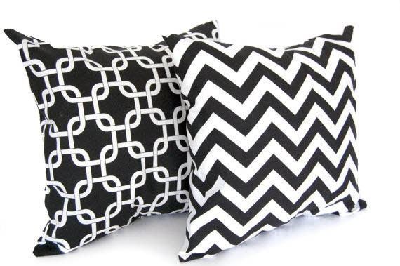 Black and white throw pillows pair decorative cushion covers shams black chevron and black links Gotcha