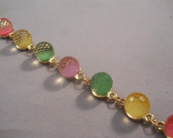 Gold Link Bracelet with Yellow, Green and Pink Beads