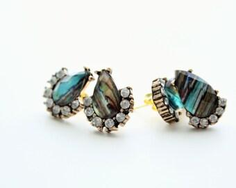 Single Drop Peacock Blue Stud Earrings