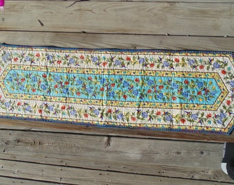 Colorful Hummingbird and Floral Table Runner