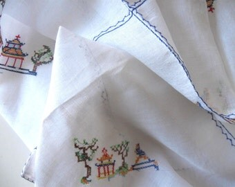 Cross Stitched Tablecloth with 7 matching napkins,  Vintage White Linen, Handmade, Retro collectible, Wedding, gift idea