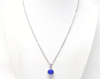 Small Round Sapphire Faceted Crystal Drop Charm Necklace