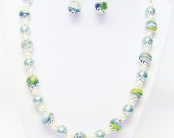 White /Black & Green Swirl Glass Bead Necklace Bracelet and Earrings Set