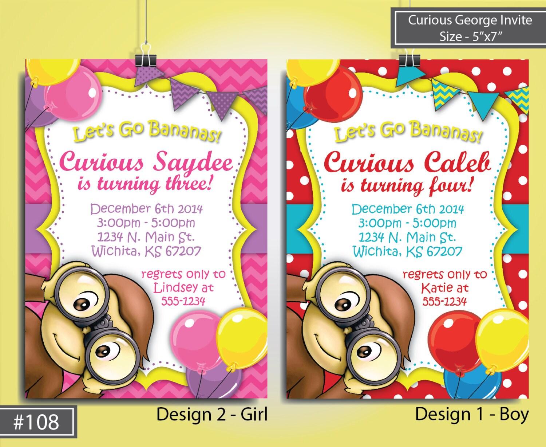 curious george birthday invitation monkey birthday invite, Birthday invitations