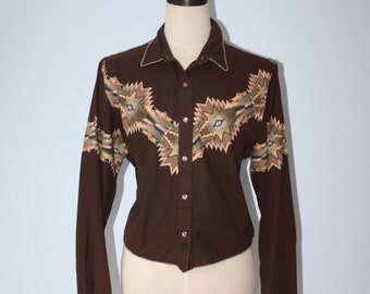 Vintage Native cowgirl shirt . Panhandle Slim brown tribal native design cropped western shirt . size large