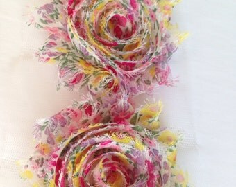 Pink Chiffon flower shabby frayed rosette