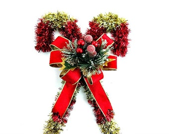 Tinsel candy cane, Christmas holiday decoration, Red and gold wall hanging, Indoor Christmas decoration, Holiday tinsel accents (C511)