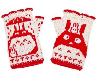 Totoro Fingerless Gloves - hand-knit from 100% merino wool