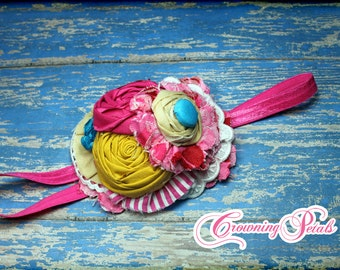 Fuchsia Pink, Mustard Yellow, Turquoise Headband, M2M Well Dressed Wolf Cameron, Baby Hair Bow, Hair Accessories, Fabric Flower Hair Clip