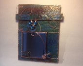 Stained Glass Mirror, Contemporary Design Blue