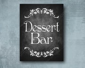 Chalkboard Style DESSERTS printed wedding sign - Professionally Printed - Royal Wedding Design - your choice of size