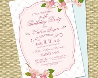 60th Birthday Invitation Adult Milestone Birthday Invitation Spring Cherry Blossoms Pink Sakura 50th Birthday ANY EVENT