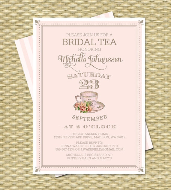 Vintage Bridal Tea Invitation Bridal Shower Invitation Bridal Tea