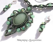 """Macrame set """"Wind Rose"""", green necklace and earrings with agates"""