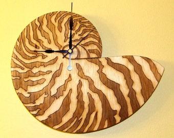 Shell , seashell wooden wall  clock.