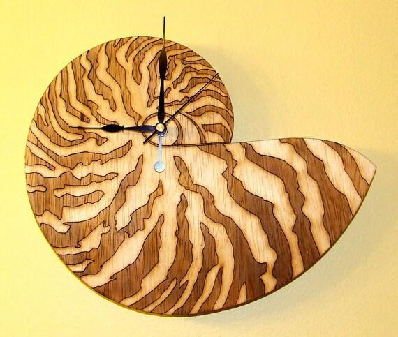 Shell seashell wooden wall clock for Seashell wall clock