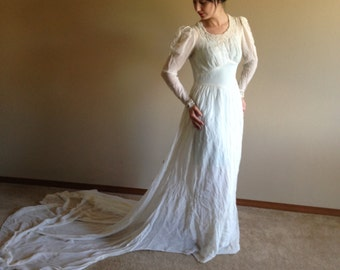 30s 40s Ethereal Semi Sheer Jersey Hand Beaded Neckline Wedding Dress Bridal Gown