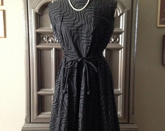 60s Black Eyelet Belted Waist Summer Dress