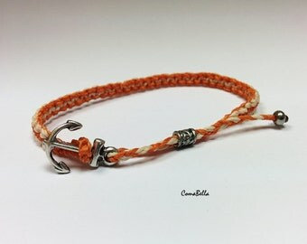 Anchor Bracelet ,Free shipping  ComaBella Sailing two sides Bracelet, Nautical Sailing,weven wax cord