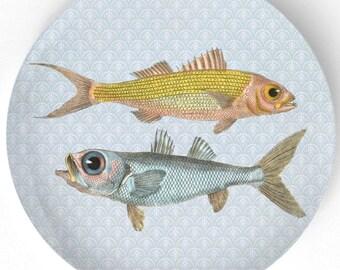 Fish, ruby snapper, bulls-eye melamine plate or platter