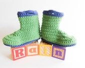 Baby Rain Boots Galoshes Gum Boots Wellies Green and Blue Organic Baby Booties Spring Boy Soft Soled Shoes Prewalker 12 - 18 month
