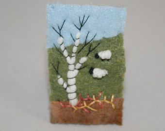 Embroidered Felt Spring Brooch - Hill-side sheep, bracken and silver birch stitched by Lynwoodcrafts