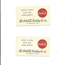 Vtg. Coca Cola 5 Pc.Bottling Co. Santa Fe NM Have a Coke With Our Compliments Cards Probably 1950-60 Era, Rcpt To Grocery Store 1931/ 1928