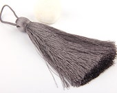 Gray, Large and Thick Silk Tassel- Jewelry Supplies  // TAS-020