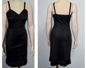Black Full Slip, Charmode Slip, Sears Roebuck Full Slip, Size 34, Vintage Slip, Women's Lingerie, Ladies' Undergarment, SALE!