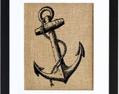 Anchor Burlap Wall Art, Nautical Wall Art, Burlap decor, Frame Included