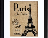 Paris Je T'aime, Burlap Print, French Wall Decor, Paris Burlap Art, Burlap Wall Art, Frame Included