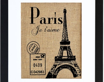 Paris Je T'aime, Burlap Print, French Wall Decor, Paris Burlap Art, Burlap Wall Art, Frame Included