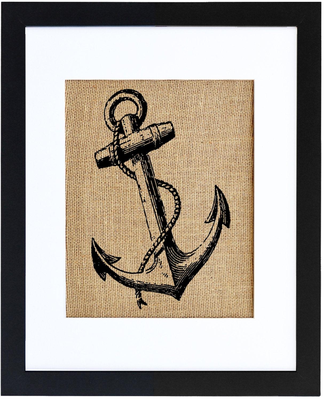 Anchor Burlap Wall Art, Nautical Wall Art, Burlap decor, Frame ...