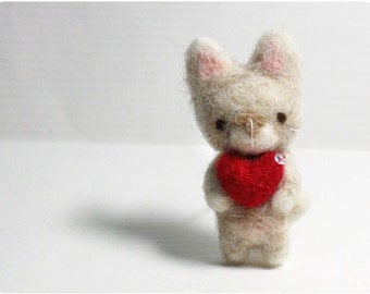 Harry Cat - needle felted wool brooch, crystal bead