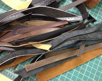 Leather Cuff Blanks Strips and Straps - Jewelry Making Leather Crafting Scrapbooking Destash Leather Scrap Lot