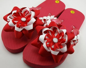 Red and White Girls Flip Flops- Child L (Size 1 to 2)