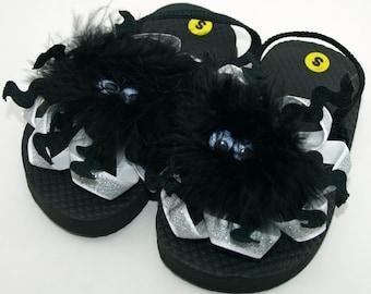 Spooky Silver Spider Toddler Flip Flops- Toddler S (Size 5-6)