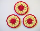 Crochet Scrubbies, Red and Yellow Polka Dot, Set of Three
