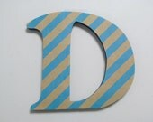 """Blue and Brown Stripes Theme Nursery Letters, Girls/Boys Wall Art, Wall Decor, Baby Room, Nursery Art, Wooden Decor, Baby Shower gift 7"""""""