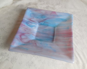Pink and Blue Swirl Fused Glass Plate 12""