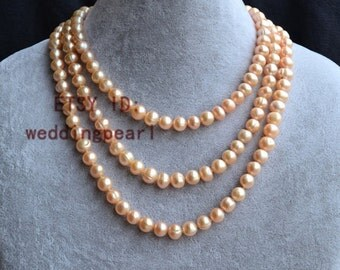 pink pearl necklace, long pearl necklaces, 56 inches 8-9mm freshwater pearl necklaces, pearl jewelry, wedding necklace, bridesmaid necklace