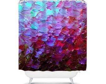 MERMAID SCALES Deep Purple Ombre Art Painting Shower Curtain Washable Home Decor Abstract Colorful Aqua Eggplant Ocean Waves Modern Bathroom