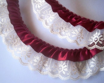 "Gathered Ruffled Lace With Satin Ribbon, Wine / Ivory, 2 1/4""inch, 1 Yard For Victorian and Romantic Projects"