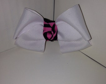White with Pink and Black Zebra Bow