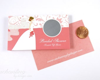 10 Coral Bridal Shower Scratch Off Cards - Bridal Shower Game - Bachelorette Party Game