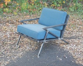 Mid Century Modern/ Industrial / Welded Steel Lounge Chair / Z Chair / Accent Chair / Upholstered Chair