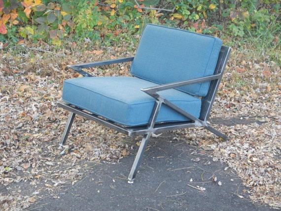 Mid century modern industrial welded steel lounge chair z for Z chair mid century