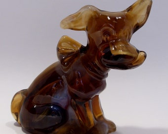 Imperial Slag Glass Caramel Parlor Pup