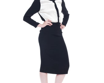 1980s Vintage Albert Nipon Black and White Androgynous Dress Size: S/M